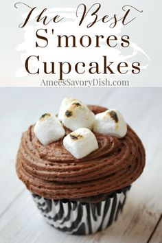 A moist and delicious recipe for homemade s'mores cupcakes with graham cracker base, chocolate frosting, and roasted marshmallows. #cupcakerecipe #cupcakes #s'morescupcakes #chocolatecupcakes via @Ameecooks Healthy Dessert Recipes, Cupcake Recipes, Easy Desserts, Delicious Desserts, Yummy Food, Awesome Desserts, Sweets Recipes, Jam Recipes, Cupcake Ideas