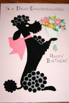 vintage poodle card by Redlandspoodles.com