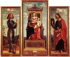 Giovanni Battista Cima, dit Cima da Conegliano (1469-1517) : Triptyque. Vierge à l'enfant entre St Georges (à gauche), et St Jacques (à dro...