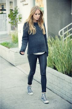 love this look. chunky sweater with skinnies and high top chucks! maybe not the leather legging though, lol