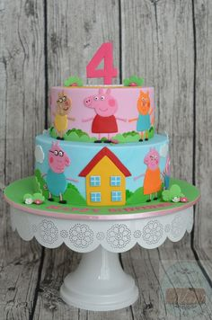 Peppa Pig Cake Ideas - Family & Friends Cake Birthday Party Cake, Peppa Pig, George Pig, Daddy Pig, Mummy Pig, Suzy Sheep, Rebecca Rabbit, Danny Dog, Emily Elephant, Candy Cat, Delphine Donkey, Zoe Zebra, Muddy Puddle