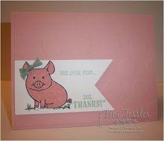 Toni Tessler (tonistamps) Independent Stampin Up Demonstrator. This Little Piggy. Blushing Bride, Mint Macaron.  Large Polka Dots embossing folder.