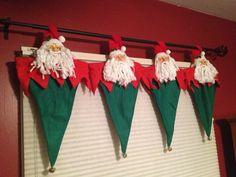 Home made Christmas valance! Christmas Chair, Christmas Nativity Scene, Christmas Lanterns, Christmas Door, Christmas Projects, Christmas Time, Xmas, Christmas Ornaments, Diy Christmas Decorations Easy