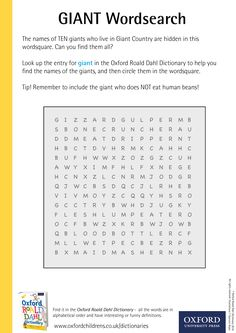 The names of TEN giants who live in Giant Country are hidden in this wordsquare. Can you find them all? Download our phizz-whizzing Oxford Roald Dahl Dictionary activity sheets now! #RoaldDahlDay #DahlDictionary Dictionary Activities, Roald Dahl Day, Activity Sheets, Looking Up, Oxford, Names, Education, Country, Live