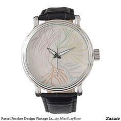 Pastel Feather Design Vintage Leather Strap Watch