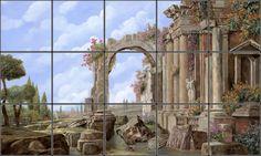 Roman Ruins Tile Mural | Pacifica Tile Art Studio