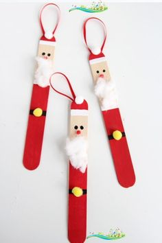 Popsicle Stick Santas - One Little Project Create a DIY santa ornament out of popsicle sticks. These are SO CUTE and super easy to make!<br> Hi there! It's Megan again from Homemade Ginger and I'm excited to share another fun ornament with you all today. These popsicle stick santas are absolutely adorable and a little addictive to make! Do your kids believe in santa? We are not huge into santa around here, but that doesn't mean we don't love to […] Kids Christmas Ornaments, Santa Ornaments, Easy Christmas Crafts, Christmas Fun, Christmas Decorations Diy For Kids, Christmas Projects For Kids, Christmas Activities For Children, Christmas Crafts For Kids To Make At School, Kids Ornament