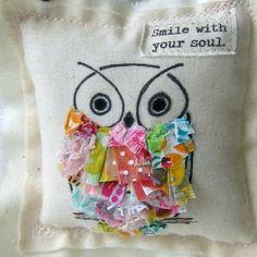 Owl Doorhanger, Owl Door Hanger, Owl Ornament, Fabric Scrap Owl, Door knob hanger, Ruffle Hand Drawn Owl, Smile with your soul, No. 379