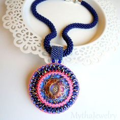 Necklace Bollywood, Crochet necklace, Button, Beaded pendant, Indian pendant, Bollywood Pendant, beaded necklace, crochet, blue necklace, by MythaJewelry on Etsy