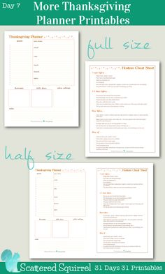 {31 Days} Day 7 - More Thanksgiving Planners Printables : Plan your Thanksgiving get together and use my Hostess Cheat Sheet to make sure the gather goes smoothly. They come in both full size or half size, and I think they make a stunning pair.