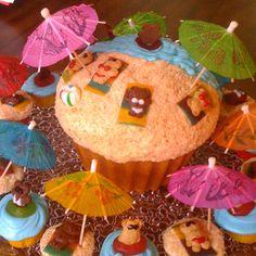 Giant beach cupcake