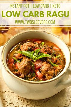 This Low Carb Italian Sausage Kale Soup gives you all the flavor of Zuppa Toscana without all the carbs! Make it quickly right in your Instant Pot! Easy One Pot Meals, Healthy Meals For Two, Healthy Eating Recipes, Vegetarian Recipes, Keto Recipes, Bariatric Recipes, Budget Recipes, Skinny Recipes, Ketogenic Recipes
