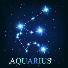 Stock vector of 'vector of the aquarius zodiac sign of the beautiful bright stars on the background of cosmic sky'