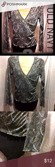 Criss Cross Top Beautiful cross cross patterned top by Old Navy. Soft and comfy . Stretches for figure flattering look. Size M. Old Navy Tops