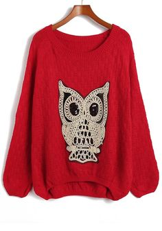 Red Owl Sequin Round Neck Loose Acrylic Sweater