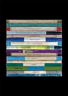 What if Blur had decided to become writers instead of musicians? This print imagines what their 1993 album Modern Life Is Rubbish might have turned out like - a collection of novels.  The books (all based on those wonderful old Penguin and Pelican paperbacks) are arranged top to bottom in the same order as the tracks on the original CD release: For Tomorrow, Advert, Colin Zeal, Pressure on Julian, Star Shaped, Blue Jeans, Chemical World, Intermission, Sunday Sunday, Oily Water, Miss…