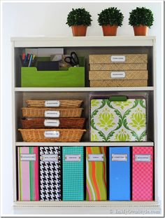 The Container Store: Knock-Off Magazine Files. How to cover cardbox magazine files and label them.