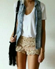 Lace shorts and Denim vest, now all I need are those shorts!