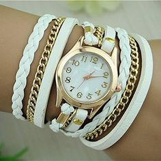 Cheap strap strap, Buy Quality strap watch strap directly from China straps woman Suppliers: 2017 New Fashion Band Wrap Women Bracelet Quartz Wrist Watch Female Alloy PU leather Retro Vintage Colorful Multilayer Strap Fashion Earrings, Fashion Jewelry, Women's Dress Watches, Wrist Watches, Antique Watches, Woven Bracelets, Casual Watches, Leather Chain, Pu Leather