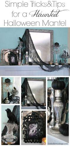 Easy, budget friendly #HalloweenDecorating ideas. Haunted #HalloweenMantel