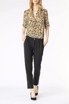 Blend fabric jumpsuit with animal print top and ruffles, animal print, comfort-fit trousers in viscose crêpe fabric.   Animal Print Jumpsuit  by Patrizia Pepe. Clothing - Jumpsuits & Rompers - Jumpsuits Netherlands