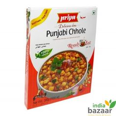 Priya Punjabi Chhole 300g Ready to eat food just microwave on high for 1 to 2 minutes and serve Serving per package:3 Goes well with Jeera rice, Naan or Roti Ingredients: White chick peas, Water, Tomatoes, Onions, Refined rice bran oil, Coriander, Red chillies, Coriander leaves, Garlic, Salt, Ginger, Cardamom, Mint leaves, Cinnamon, Turmeric, Dry mango, Black cumin seeds, Fennel, Cumin, Dry pomegranate seeds, Black pepper and Black salt Product of India