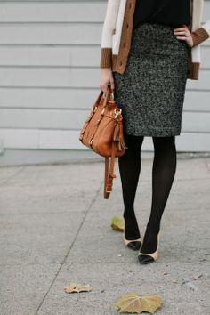 black tights, chunky cardigan, gray skirt