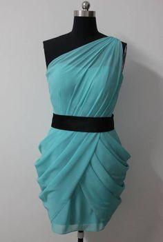 Chiffon White Sheath One Shoulder Mini #Bridesmaid #Dress in Turquoise Style Code: 07465 $79