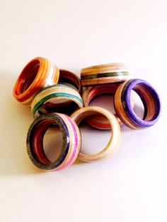 Custom Recycled Skateboard Wood Ring by SkateBetty on Etsy