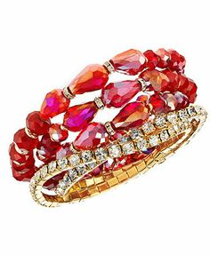 c.A.K.e. by Ali Khan Bracelet Set, Gold-Tone Pomegranate Glass Bead Stretch Bracelets