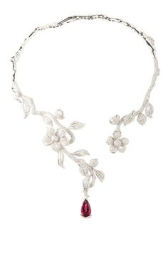 Single Rubelite And Flower Drop Necklace by Wendy Yue for Preorder on Moda Operandi