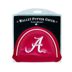 NCAA Alabama Mallet Putter Cover by Team Golf. $18.49. Made with Buffalo Vinyl and Polyester Knit. 2 location embroidery includes both logo and wordmark. Fits most mallet putters. Easily slips on and off the putter. Velcro closure. Protect your putter while supporting your favorite collegiate team with this officially licensed NCAA® mallet putter cover from Team Golf. The cover fits most mallet putters and includes a fleece lining for extra club protection. A strong VELCRO