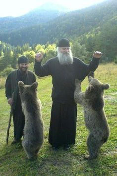 Eurasia: Orthodox monks with orphaned bear cubs, Georgia Orthodox Priest, Orthodox Christianity, World Religions, We Are The World, Orthodox Icons, Christian Faith, Ukraine, Bear Cubs, Christian Art
