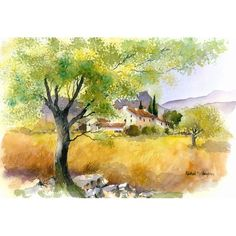 Provence, Late Summer by Rachel McNaughton @ Mini Gallery - Watercolour Painting Watercolor Painting Techniques, Watercolor Tips, Watercolor Landscape, Watercolour Paintings, Art Tutor, Pen And Wash, Medium Art, Nature Pictures, Painting Inspiration