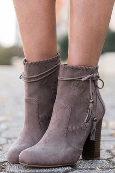 All The Drama Dark Taupe Ankle Boots at reddressboutique.com