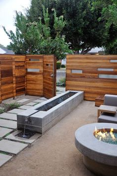 MTLA - Ten Residence - modern - Landscape - Los Angeles - MTLA- Mark Tessier Landscape Architecture Water Feature and Fire Pit equals WIN!