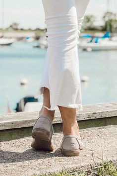 bc1b90a079 @elizahiggins #SperryMyWay Style blogger Eliza Higgins wears the Seaport  Penny Loafer in grey with