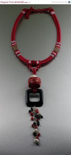 ON SALE Red Chinese Knotted Necklace with Red Coral and Onyx - #Handmade #Jewelry by John S Brana by johnsbrana, $60.00