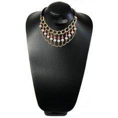 Collar de Moda con Perlas, Cadena de Aluminio y Piel Sintética
