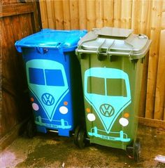 VW BUS PAINTED GARBAGE CANS