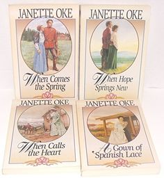 Author Janette Oke Four Book Bundle Bundle, Includes: A Gown of Spanish Lace - When Calls the Heart - When Comes the Spring - When Hope Springs New by Jeanette Oke http://www.amazon.com/dp/B00WX9VYZ6/ref=cm_sw_r_pi_dp_eoTqvb18TXGJ2