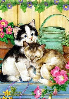 Bright and positive watercolors. The artist Jane Maday. Part Discussion on LiveInternet - Russian Service Online diary Kittens Cutest, Cats And Kittens, Cute Cats, Animal Paintings, Animal Drawings, Decoupage, Cat Sketch, Most Beautiful Animals, Animal Books