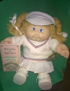 Cabbage Patch Kid 1985 IC1 Tennis Girl Bernice Lenore Gold Braids Blue Eyes HM3