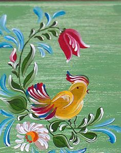 bird and flowers Tole Painting, Fabric Painting, Norwegian Rosemaling, Polish Folk Art, Boat Art, Arte Floral, Pattern Art, Painting Inspiration, Art Decor