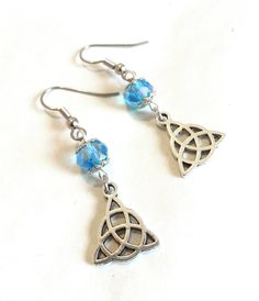Light Blue Crystal Triquetra Earrings by DCArtandPhotography