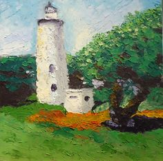 Lighthouse with palette knife. One of the only palette knife paintings I've actually enjoyed. Oil paint with wax medium on 8x8 canvas board.