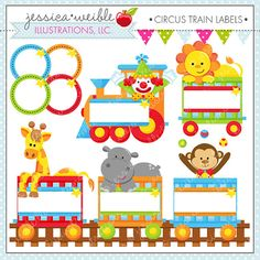 Circus Train Labels Cute Digital Clipart - Commercial Use OK - Circus Clipart, Circus Graphics, Labels, Name Tag