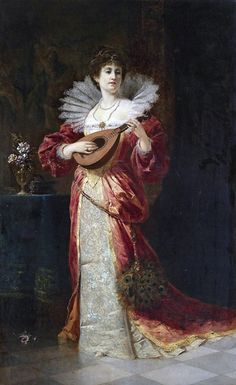 Ferdinand Wagner. Lady with Lute, 1877
