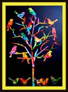 The tree of birds - The turn of my ideas - - Art Auction Projects, School Art Projects, Tag Art, Classe D'art, Art Du Collage, Collaborative Art, Art Classroom, Art Club, Art Plastique