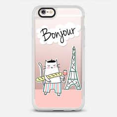 Bonjour! French Cat in Paris - protective iPhone 6 phone case in Clear and Clear by Happy Cat Prints  >>> https://www.casetify.com/product/bonjour---french-cat-in-paris---travel-serie---coral-pink/iphone6s/new-standard-case#/177607 | @Casetify